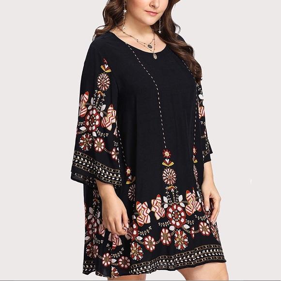 Dresses Plus Size Boho Print Swing Babydoll Dress 03x Poshmark